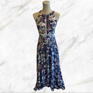 Jaase | Blue Printed Maxi Dress with Open Back